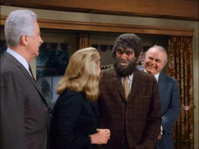 """Hi, I'm here for the PTA meeting!"" Dick York as Transman in Wolfman form."