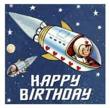 A super cool rocket ship card because the card Transman's father actually sent can't be shared on the internet and still keep this a PG-13 blog. Yes, the Old Man has a ribald streak.