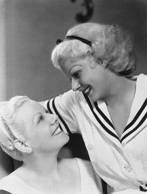 """Let's get Transman in trouble!"" Twyla Faye and Daisy in cahoots. (Jean Harlow and her mother playing Transman's sisters.)"