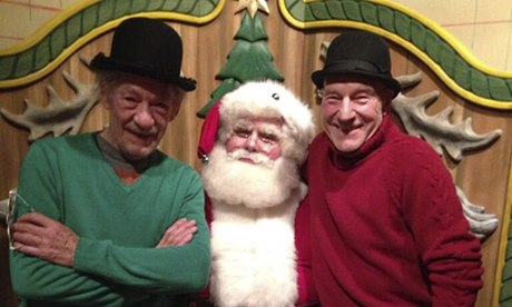 """The only thing we want for Christmas is to be on Transman's blog. Then we truly will be Masters of the Internet!"" Sirs Ian McKellen and Patrick Stewart present their list to Santa Claus."