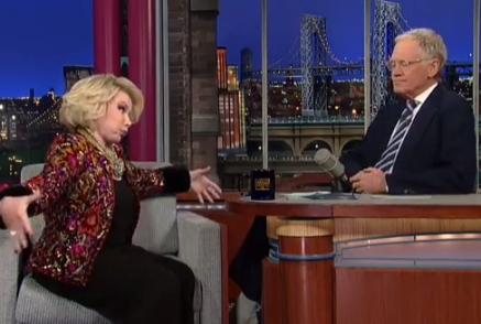 """Transman claims he's been working out,"" Joan Rivers tells David Letterman, ""working out to about a Triple XL!"""