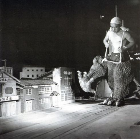 Haruo Nakajima as Transman putting on his Godzilla pants.