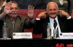 Goofing around with Carlos Fuentes at conference and book fair celebrating Fuentes' 80th birthday in 2008.