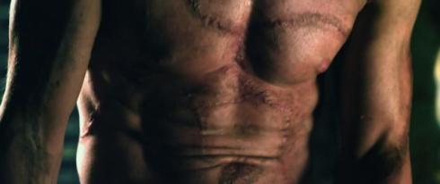 """Aaron Eckhart's """"I, Frankenstein"""" chest makeup."""