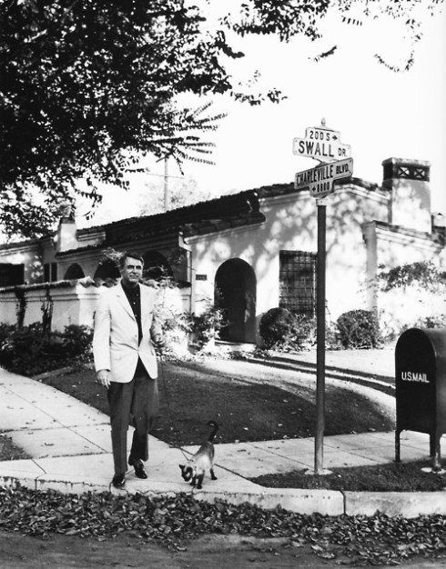 """""""Well, Gatita, we've made it to the end of the sidewalk. We'd better turn around and go home,"""" Cary Grant as Transman."""